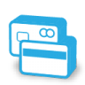 Blue credit card billing icon