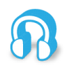 Blue customer support icon